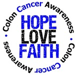 Colon Cancer Hope Love Faith Shirts & Gifts