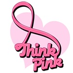 Think Pink Heart Ribbon Breast Cancer Tees & Gifts