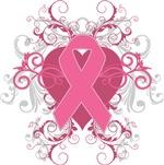 Breast Cancer Embellishment Heart Ribbon Shirts