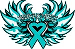 Ovarian Cancer Heart Wings Shirts
