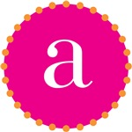 a monogram, pink