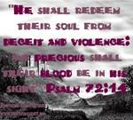 Psalms 72:14 Precious Scripture