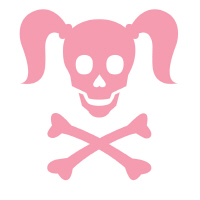 Curly Girlie Skull in pink