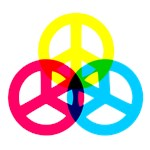 Glowing Colorful Peace signs