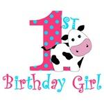 1st Birthday Girl Cow