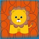 Lion on Orange Blue