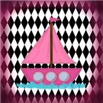 Pink Sailboat Water Diamonds
