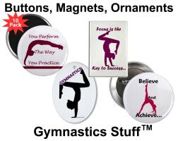 Gymnastics Buttons, Magnets, & Ornaments