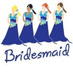 Blue Bridesmaids T-shirts and Gifts