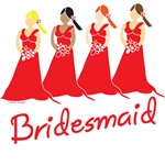 Red Bridesmaids T-shirts, Favors, Gifts