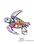 Sea Turtle with Flowers