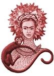 Red Monkey Hugging Frida
