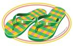 Beach Flip Flops EURO Oval Sticker