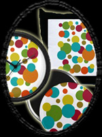 'Retro Dots' Round Magnet Featured Here