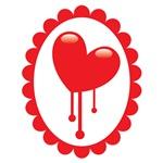 Bleeding red heart