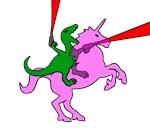 Dinosaur Riding Invisible Pink Unicorn