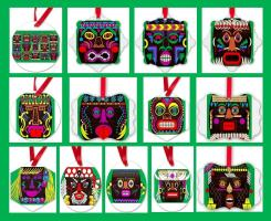 Mod Tikis Series Christmas Ornaments