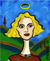 Angel Julia, modern painting of a woman angel