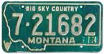 1974 Montana License Plate