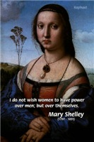 Raphael with Mary Shelley Quote: Women Men'society