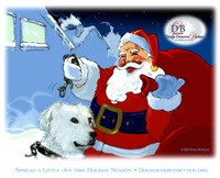 Santa Unchains Dog Holiday Art