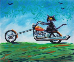 BIKER CAT ON MOTORCYCLE