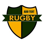 Rugby Shield Green Gold Personalize