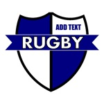 Rugby Shield White Blue Personalize