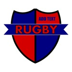Rugby Crest Red Blue Personalize