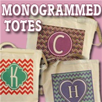 TOTE BAGS A to Z Monogrammed Totes