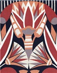 Art Deco Flower in Grey, Salmon, Red, Black and Wh