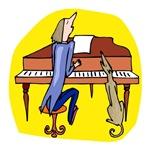 Dog & Owner at Piano Making Music