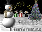Merry Christmas With Snowman & Angels