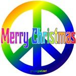 Rainbow Merry Christmas Peace Sign