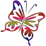 Cool Rainbow Retro Butterfly
