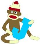 Sock Monkey Monogram Boy J
