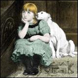 Dog adoring girl