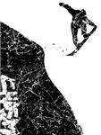 Chasm Snowboarder Cliff Jump