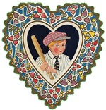Victorian Valentines Boy w/ Baseball Bat