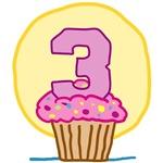 3rd Birthday Cupcake T-Shirts