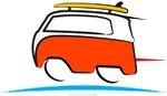 Red Shorty Van gone surfing in Santa Cruz Californ