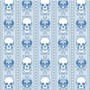 Baroque Skull Stripe Pattern Blue