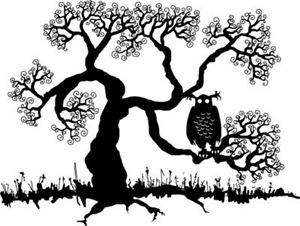 Spooky Owl In Tree