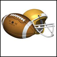 Football and One Helmet