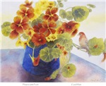 Flowers and Finch by Carol Hart