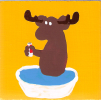 Moose In A Bathtub With A Beer