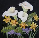 Calla lillies and purple freesias