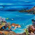 mermaid and her fish