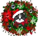 Cat In Christmas Wreath
