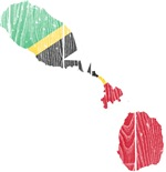 Saint Kitts And Nevis Flag And Map
